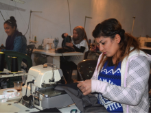 Women working at the Amarge textile Cooperative, Kobane